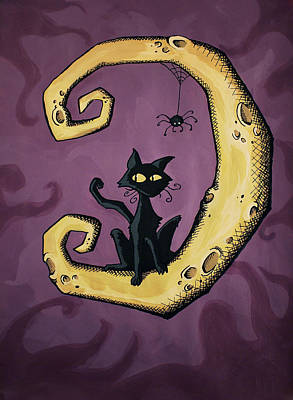 Cartoon Spider Painting - Cat On The Moon by Sara Coolidge