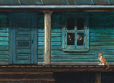 Cat On The Porch Print by J Ferwerda