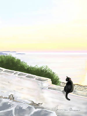 Sunset Seascape Painting - Cat On The Port by Veronica Minozzi
