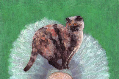 Tortie Painting - Cat On Tree by Kazumi Whitemoon
