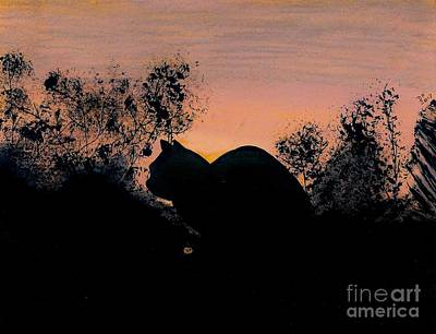 Art Print featuring the drawing Cat - Orange - Silhouette by D Hackett