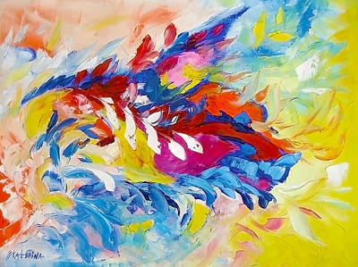 Cat Panther Painting Abstract Art Bright Colors Art Print