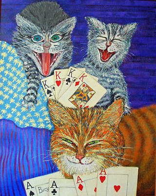 Cat Poker Art Print by Dwain Ray