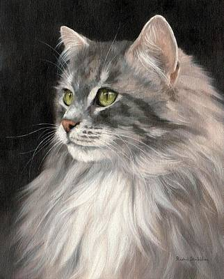 Cat Portrait Painting Original by Rachel Stribbling