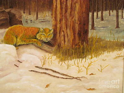 Snow Painting - Cat Prey On Bird Oiginal Oil Painting by Anthony Morretta