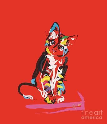 Kitten Painting - Cat Prins by Go Van Kampen