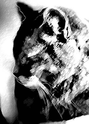 Digital Art - Cat Profile by Ruth Renshaw