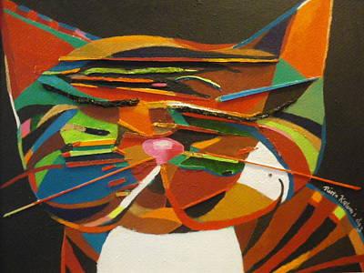 Colourfull Painting - Cat by Riitta Kalenius