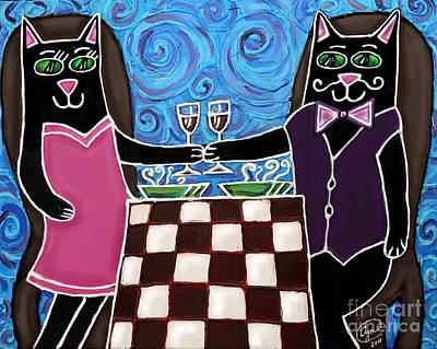 Painting - Cat Romance by Cynthia Snyder