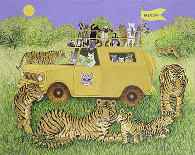 Park Holidays Painting - Cat Safari  by Pat Scott