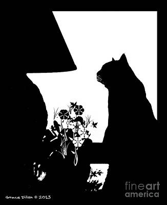 Digital Art - Cat Silhouette by Grace Dillon