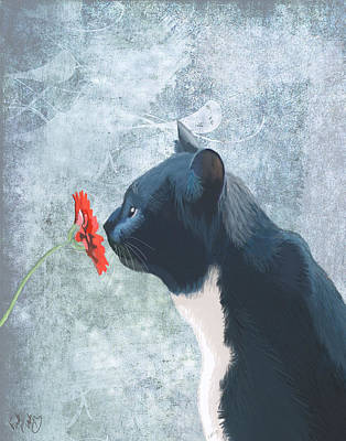 Black And White Cat Digital Art - Cat Sniffing A Flower by Kelly McLaughlan