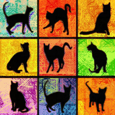 Kitty Digital Art - Cat Squares Abstract by David G Paul