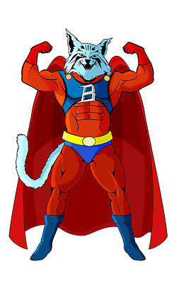 Cat Super Hero Original by Stefan Catalin