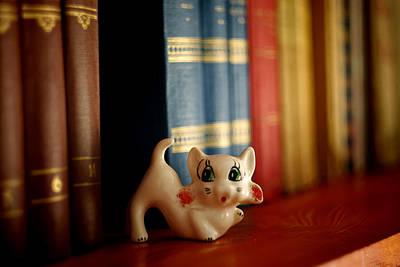 Cat Trinket And Books Art Print