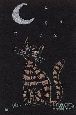 Cat Under The Moonlight Art Print by Angel  Tarantella