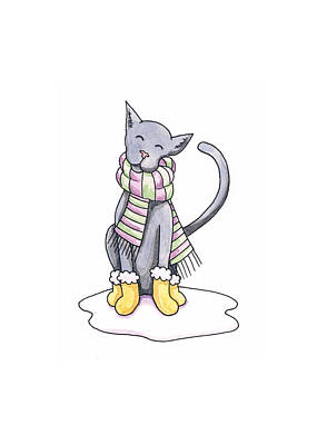 Kitty Drawing - Cat Wearing Scarf by Christy Beckwith
