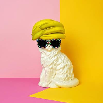 Photograph - Cat Wearing Sunglasses And Banana Wighat by Juj Winn