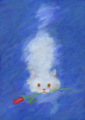 Painting - Cat With A Rose by Kazumi Whitemoon