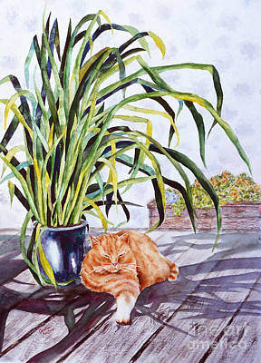 Painting - Cat With Cymbidium by Carolyn Jarvis