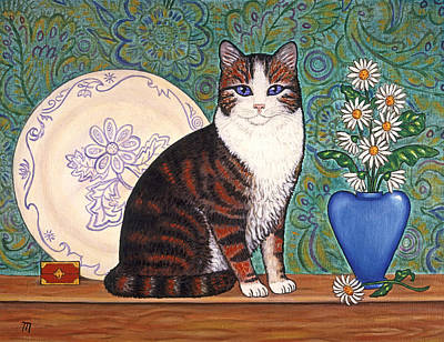 Kittens Painting - Cat With Daisies by Linda Mears