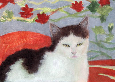 Painting - Cat With Floral Kimono by Kazumi Whitemoon