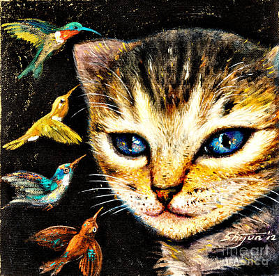 Hummingbird Painting - Cat With Hummingbirds by Shijun Munns