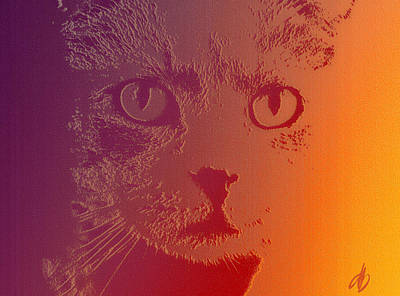 Cat With Intense Stare Abstract  Art Print by Denise Beverly
