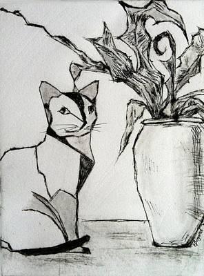Cat With Palm Original by Elizabeth  Bogard