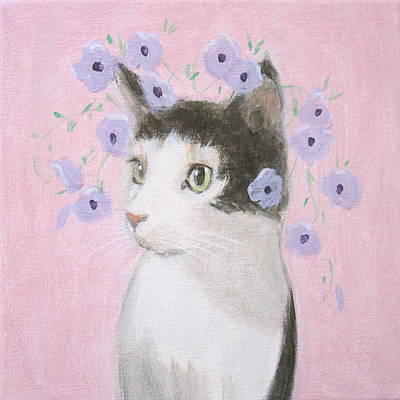 Cat With Purple Flowers Art Print