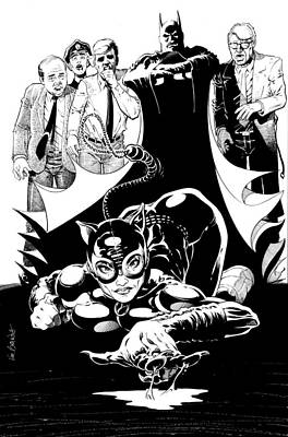 Dc Comics Drawing - Cat Woman Being Ogled by Ken Branch