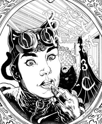 Dc Comics Drawing - Cat Woman Lipstick On Mirror by Ken Branch