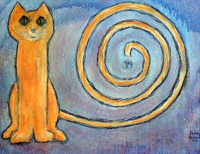Art Print featuring the mixed media Cat World by Kenny Henson