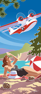 Catalina, Mid Century Travel Art Print