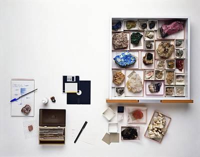 Cataloguing Mineral Specimens Art Print by Dorling Kindersley/uig
