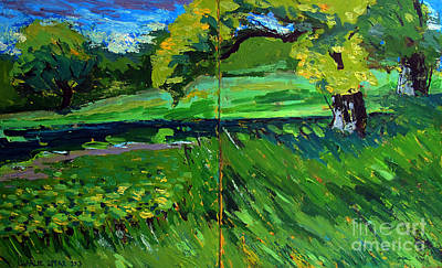 Waterscape Painting - Catalpa Trees On Jim Raders Pond by Charlie Spear