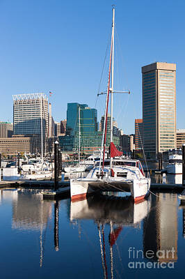 Photograph - Catamaran In Baltimore Inner Harbor I by Clarence Holmes