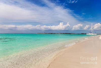 Photograph - Catamaran On Deserted White Sand Beach by Jo Ann Snover
