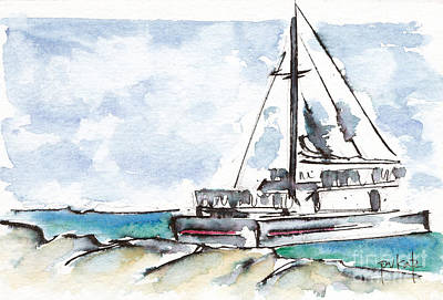 Caribbean Sea Painting - Catamaran On Fury Beach by Pat Katz