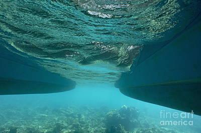 Catamaran's Hull Underwater Art Print by Sami Sarkis