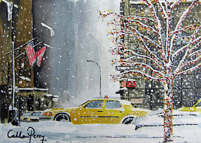 Snow Drifts Painting - Catch A Snow Cab by Callan Percy