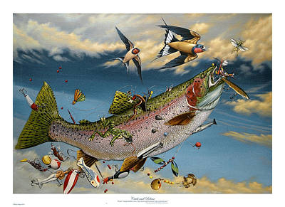 Fishing Flies Painting - Catch And Release by Philip Slagter