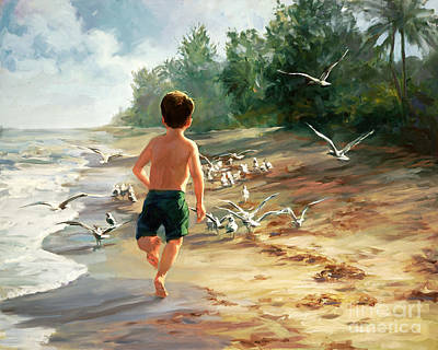 Children On Beach Painting - Catch Them If You Can by Laurie Hein