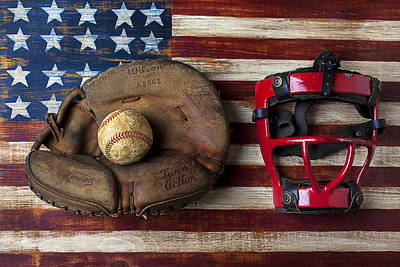 Baseball Art Photograph - Catchers Glove On American Flag by Garry Gay