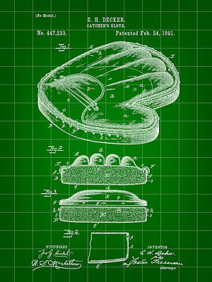 Catcher's Glove Patent 1891 - Green Art Print by Stephen Younts