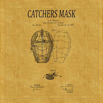 Baseball Royalty-Free and Rights-Managed Images - Catchers Mask Patent 1 by Andrew Fare