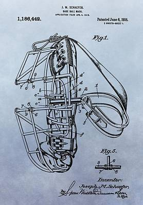 Baseball Royalty-Free and Rights-Managed Images - Catchers Mask Patent by Dan Sproul