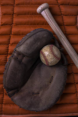 Bat Photograph - Catchers Mitt And Baseball by Garry Gay