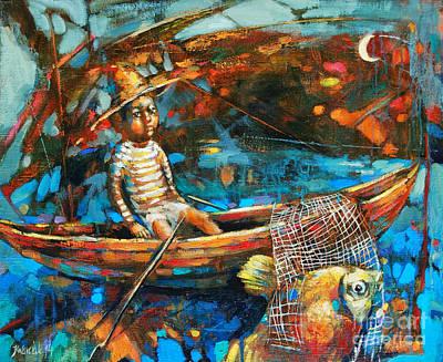 Catching A Goldfish Art Print by Michal Kwarciak