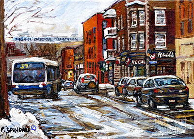 Point St. Charles Painting - Catching The 57 Bus On Centre Apres Lunch At La Chic Regal Pointe St. Charles Montreal Winter City  by Carole Spandau